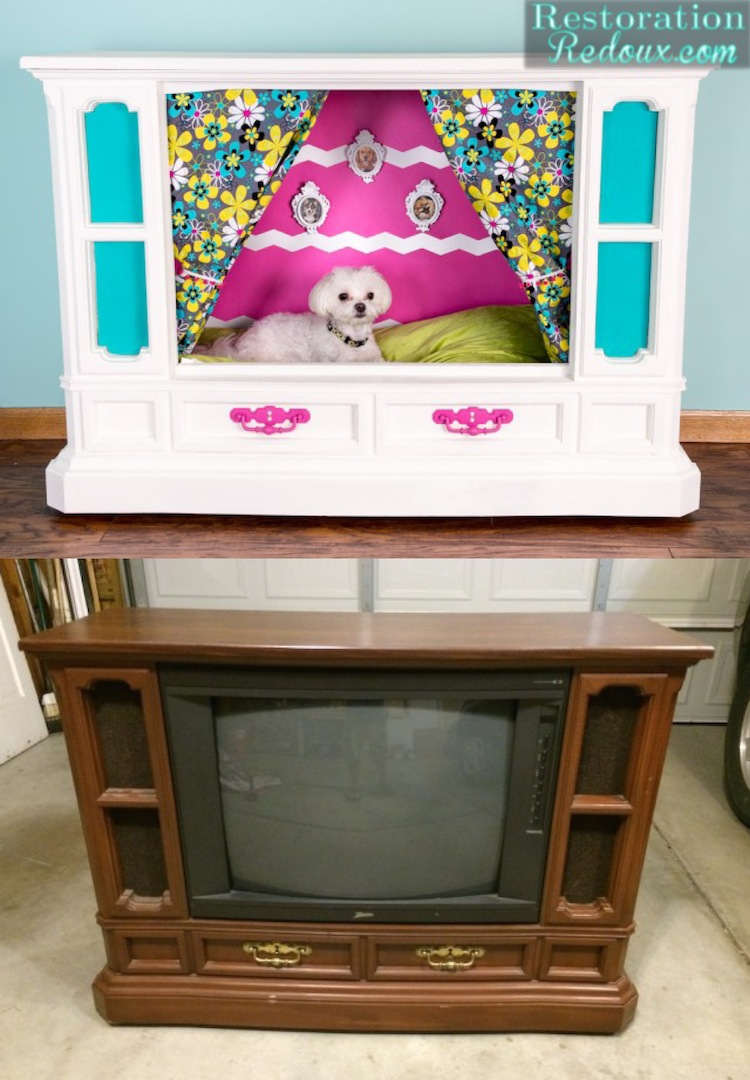 Tube TV Turned Dog House by Restoration Redoux