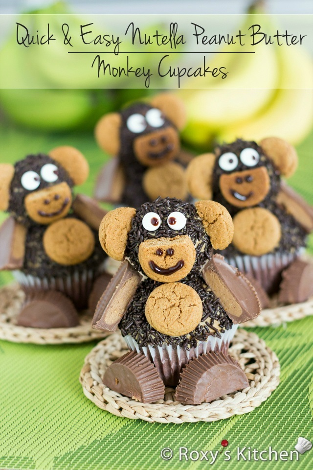 Quick and Easy Nutella Peanut Butter Monkey Cupcakes