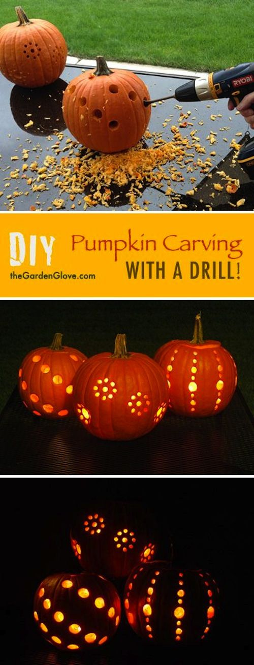 If you want a different pumpkin carving idea, try our project on pumpkin carving with a drill! They have complete instructions for drilled pumpkins!