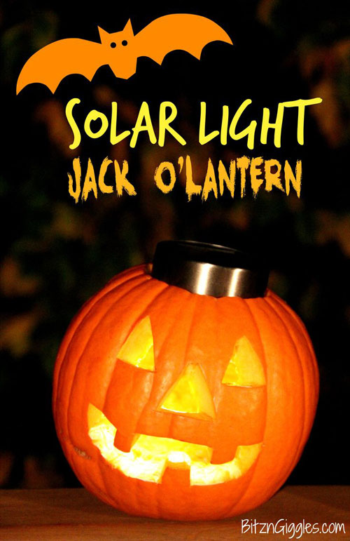 "Forget about burning yourself with a candle – Fit your pumpkin with a solar light instead and it can ""burn"" for days! Brilliant"