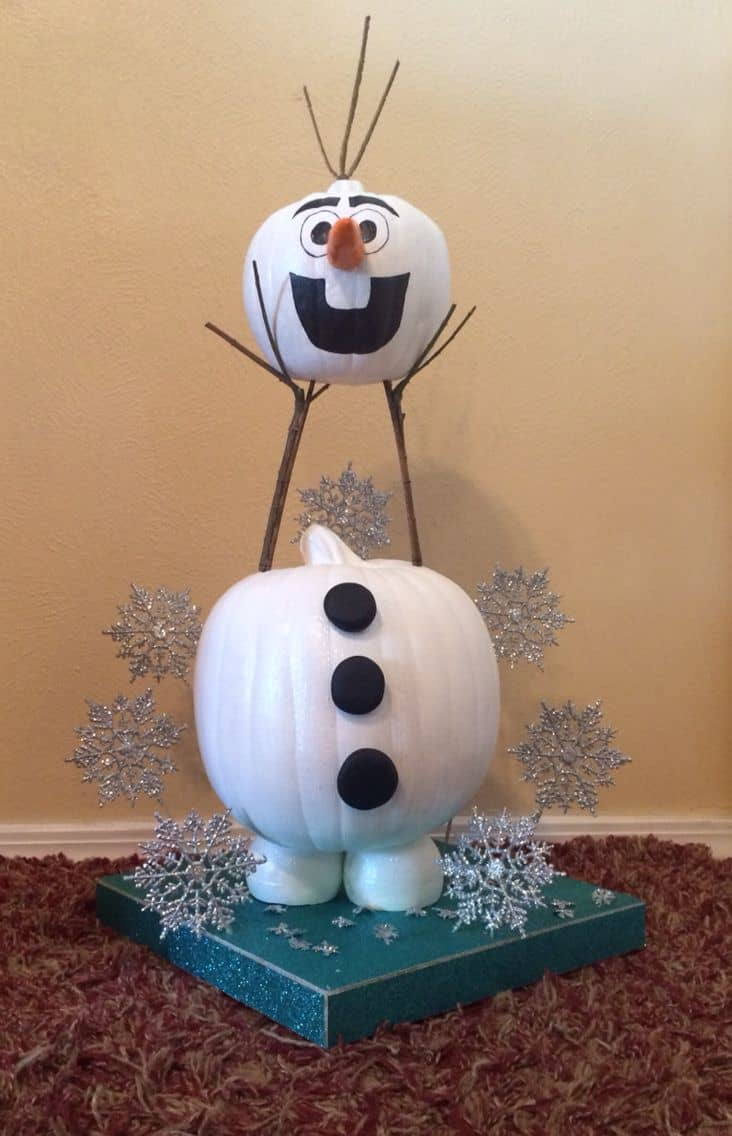 Disney's Olaf Pumpkin could work for both Halloween and Christmas!