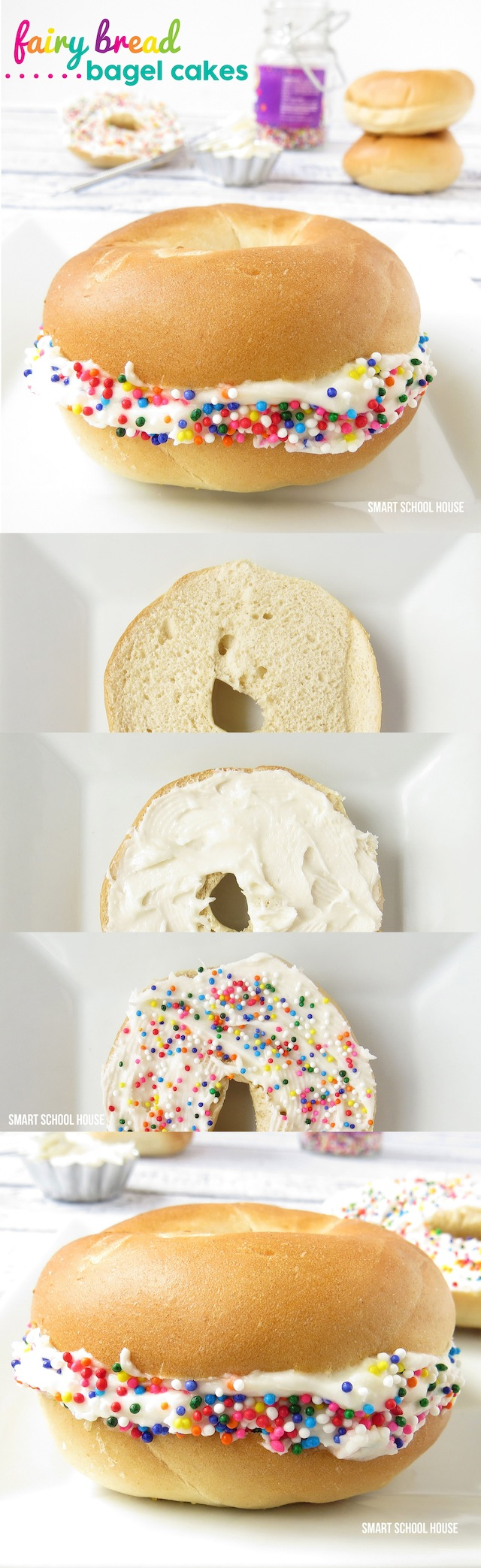 An easy and fun recipe for Fairy Bread Bagel Cakes