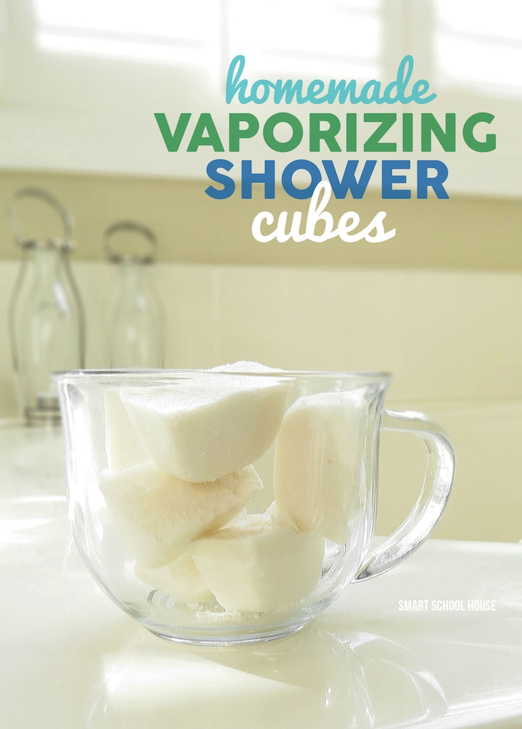 Homemade Vaporizing Shower Cubes (without menthol). Great DIY idea for coughs and colds. Pictures and step-by-step instructions included.