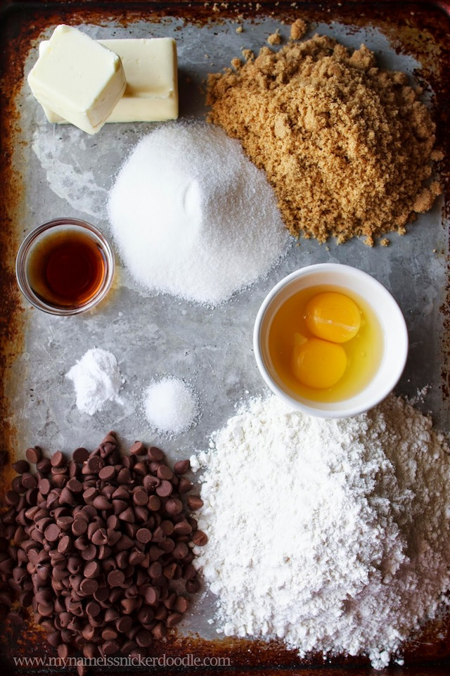 Ingredients for a Giant Chocolate Chip Cookie