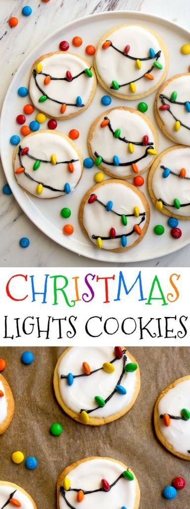 Christmas Lights Cookies Made with a small batch of royal icing and mini M&Ms as Christmas Lights.