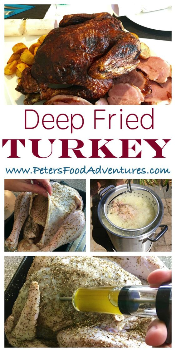 Deep Fried Turkey - Crispy outside, juicy inside, a faster way to make turkey. Herb butter injected marinade adds flavor throughout with a tasty dry rub.