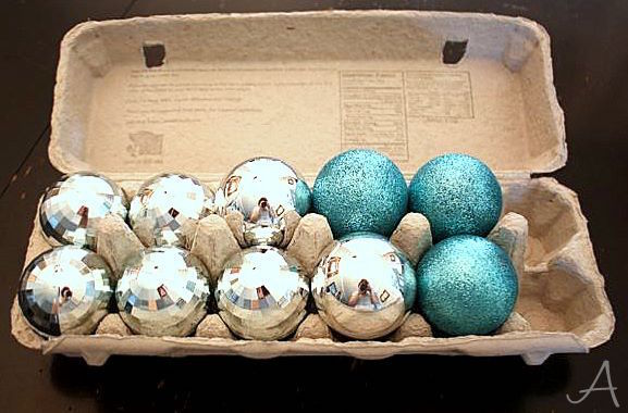 Store Glass Ornaments in Egg Cartons