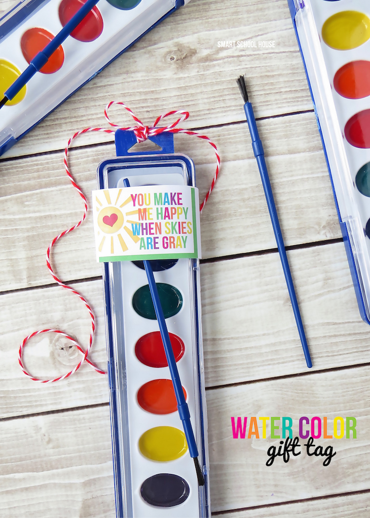 You Make Me Happy When Skies are Gray. Watercolor gift tag printable. A perfect non candy Valentine's Day, St. Patrick's Day, or party favor idea..