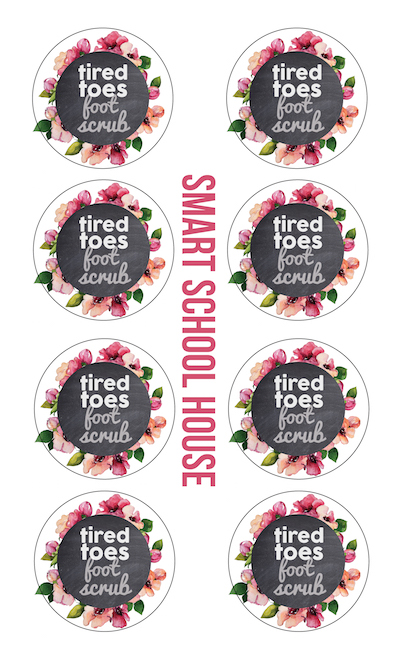 tired toes foot scrub printable