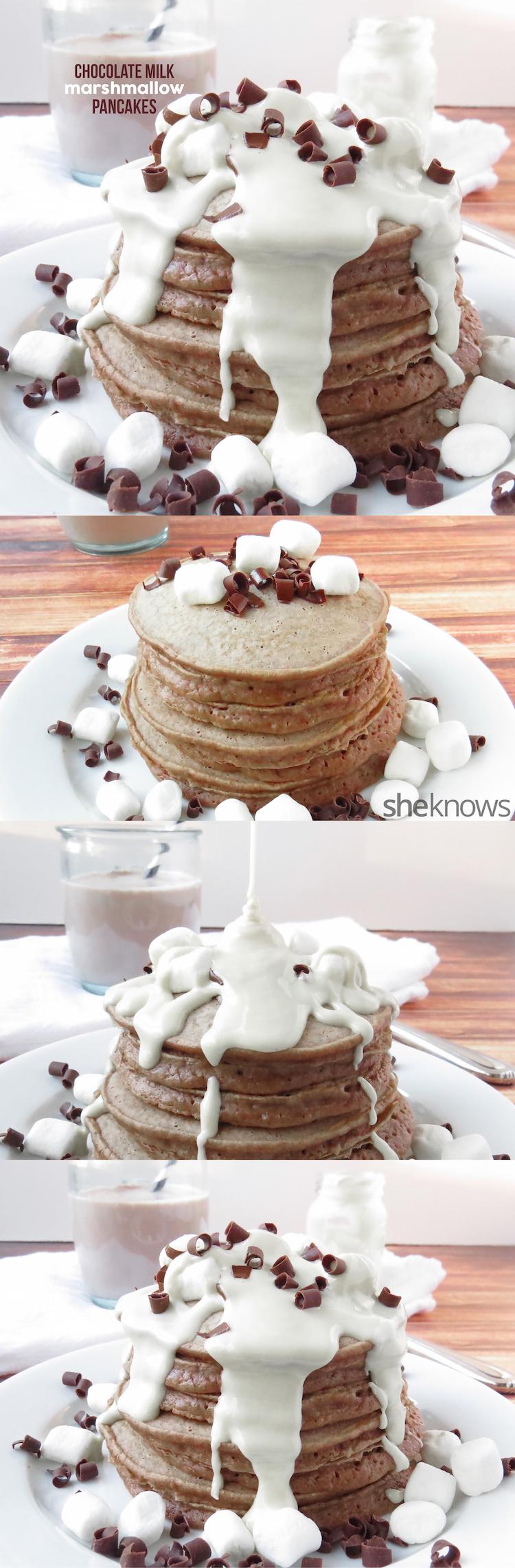 Chocolate Milk Marshmallow Pancakes