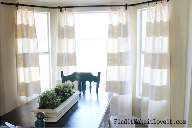 Painted Drop Cloth Dining Room Curtains