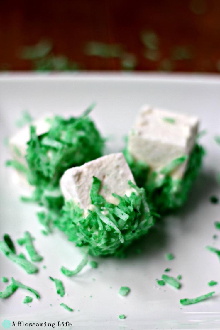 Homemade St. Patrick's Day Marshmallow Coconut Treats