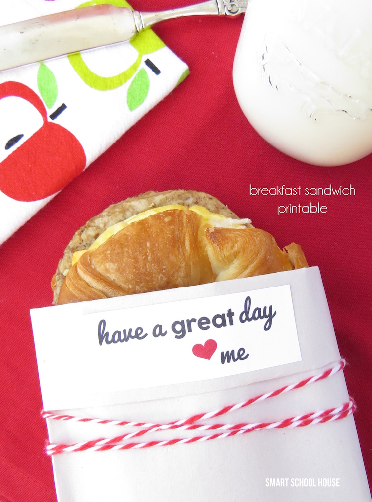 Breakfast Sandwich Printable for busy moms and families.