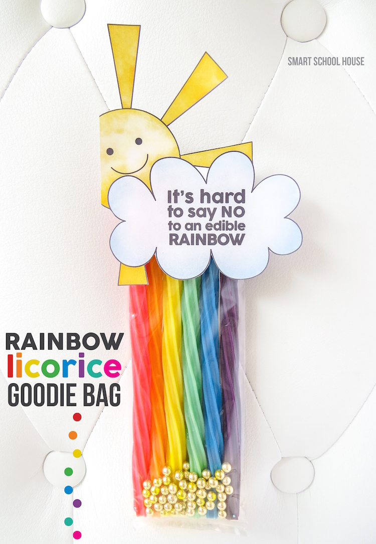 It's Hard to Say No to an Edible Rainbow - Printable. A cute rainbow licorice goodie bag for St. Patrick's Day or a rainbow themed party
