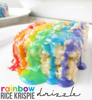Rainbow Rice Krispie Drizzle