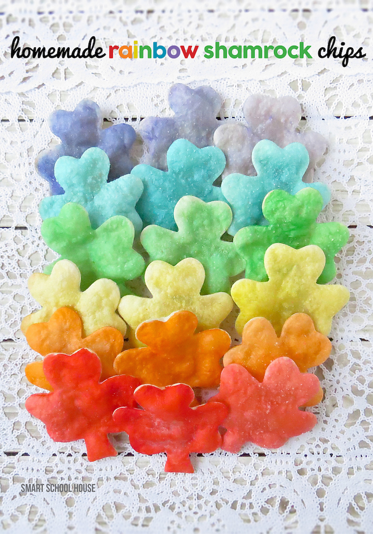 Rainbow Shamrock Homemade Chips