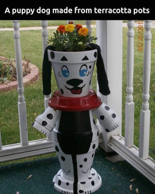 Stack and paint garden pots to make a puppy planter!