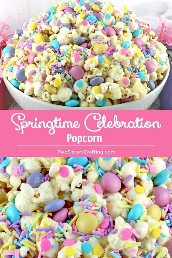 Springtime Popcorn - Springtime Celebration Popcorn is a colorful and yummy popcorn dessert – the perfect combination of sweet, salty and crunchy in a single bowl.