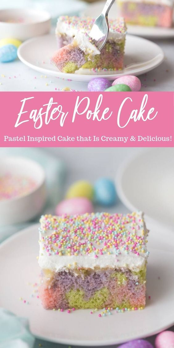 Easter Poke Cake Recipe - Serve up this incredible Easter egg poke cake recipe for all your Easter entertaining needs. You have a moist cake with Vanilla pudding poked throughout and topped with sweet whipped topping!