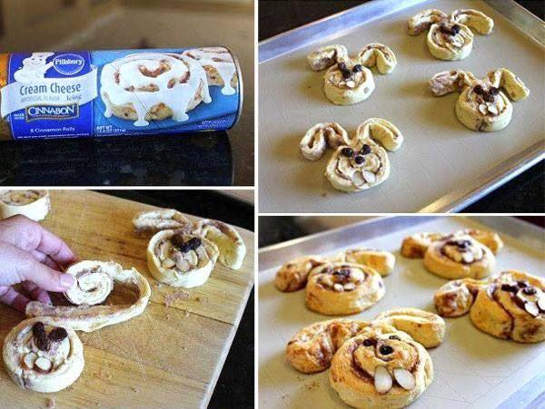 """Cinnabunnies- What do you get when you unroll a tube of cinnamon rolls and shape them like bunnies? """"Cinnabunnies!""""These silly little bunnies make everyone smile."""