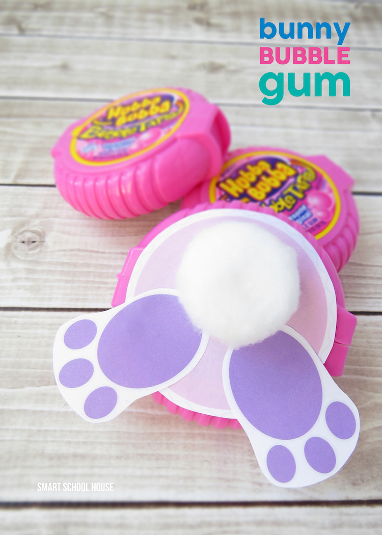 Bunny Bubble Gum made with Bubble Tape Gum. An easy DIY Easter gift idea!