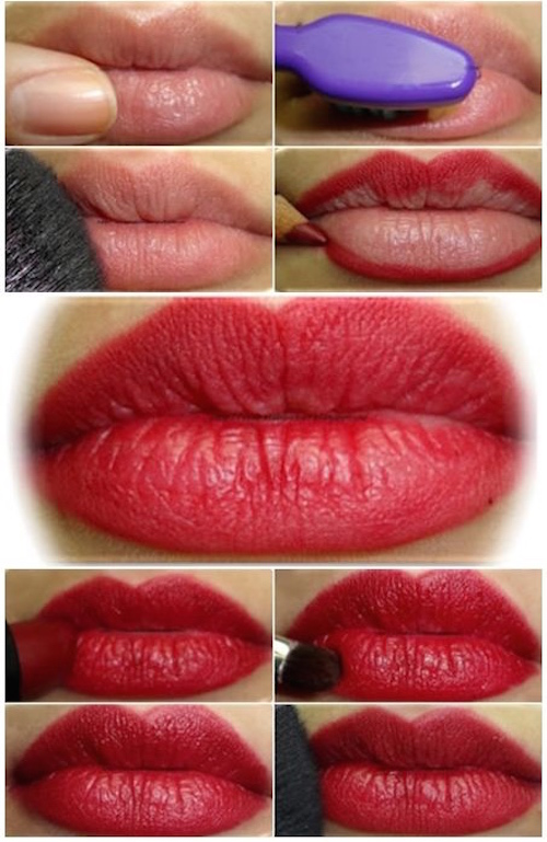 Exfoliate your lips for longer lasting lipstick using lipbalm and a toothbrush