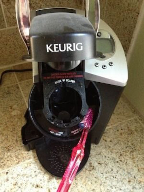 Clean your Keurig with a toothbrush and remove all of the extra coffee ground buildup.