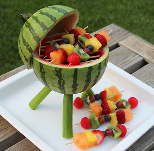 Turn a watermelon into a BBQ! Isn't this the cutest way to serve fruit this summer?