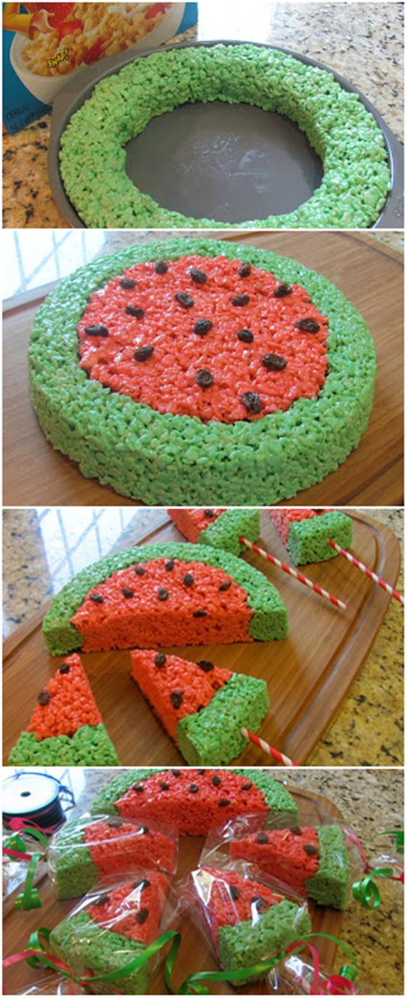 DIY Watermelon Rice Krispies. Creative idea!