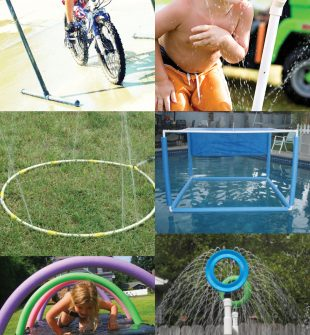 ideas for DIY sprinklers, how to make a water blob, and back yard waterpark fun with noodles and other DIY water play activities.