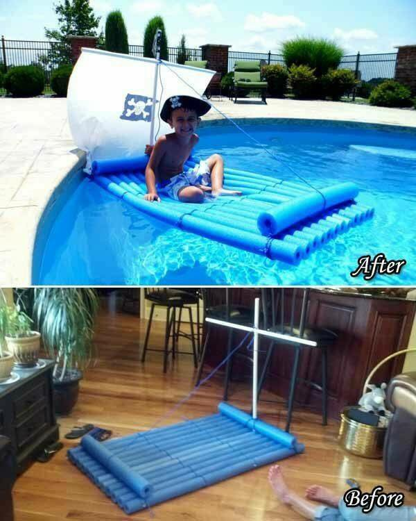 Make a kid's pirate pool float from pool noodles!