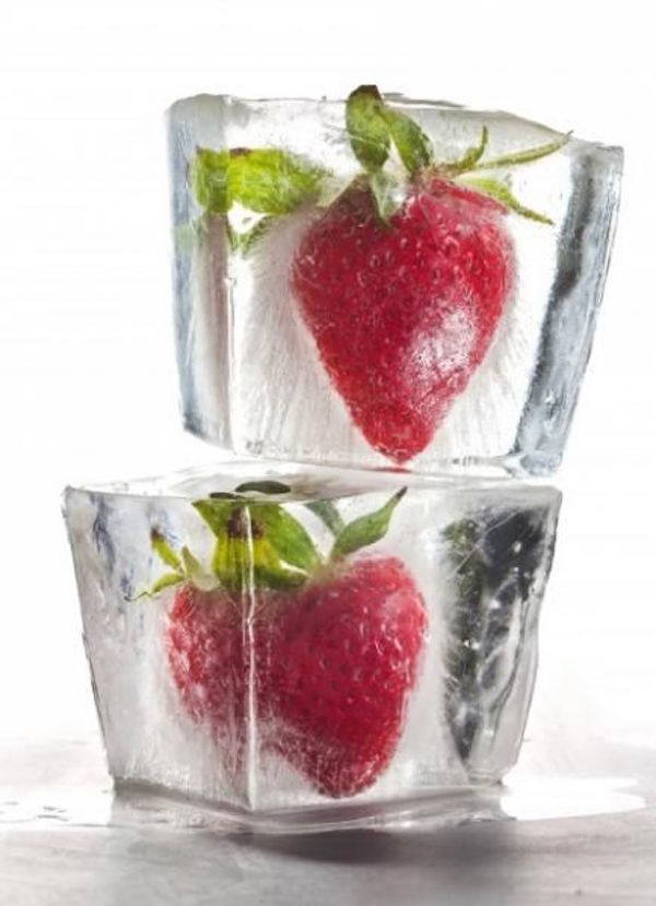 Freeze strawberries in ice! To get the ice extra clear, use boiled water