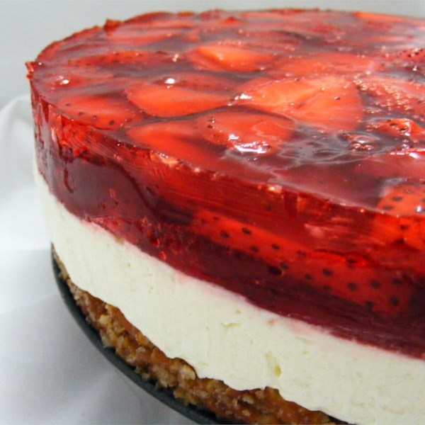 Strawberry Pretzel Salad - A three layer salad includes a pretzel crust, cream cheese center, and strawberry top.