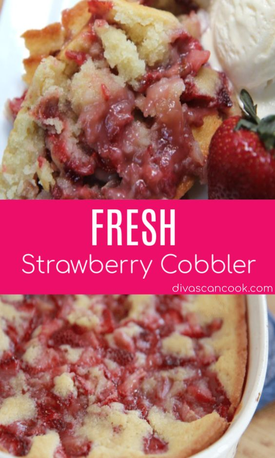 Fresh strawberries and a fluffy, crust makes this strawberry cobbler the best! Easy to make, simple ingredients, goes great with vanilla ice cream.