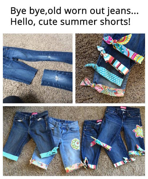 Turn old jeans that are worn out from the winter into adorable and colorful shorts for the summer! What a great idea -