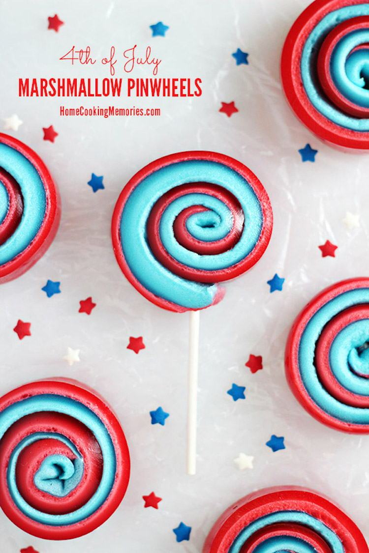 Patriotic Jello Marshmallow Pinwheels. An easy red, white, and blue 4th of July or Memorial Day treat!