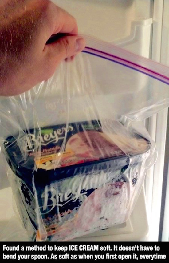 Did you know that keeping your ice cream in a freezer bag will keep it soft?