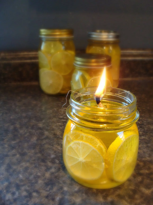 DIY oil lamp - a cute homemade lantern made with lemons!