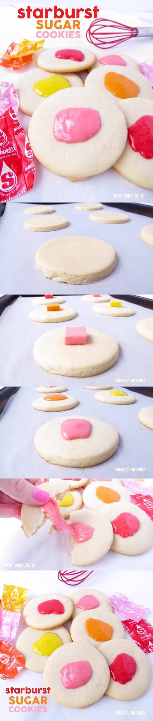 Starburst Sugar Cookies. Juicy Starbursts melted on top of irresistible and warm sugar cookies!