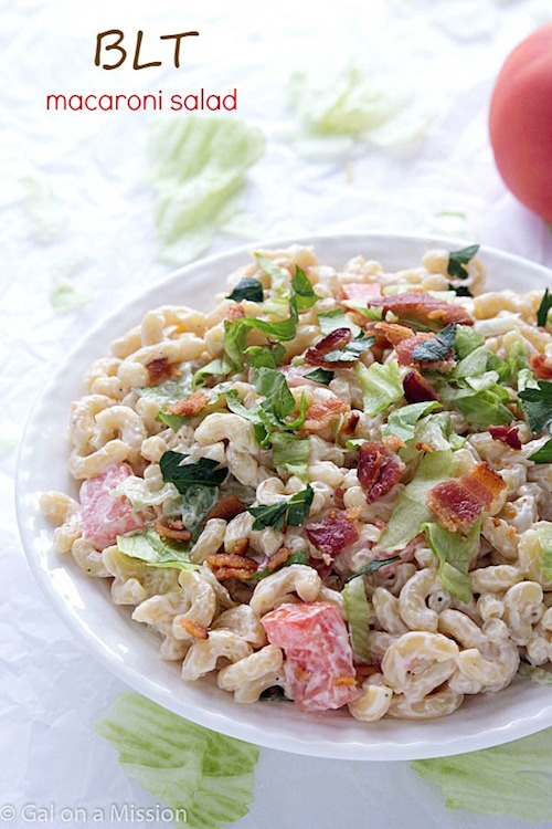 Macaroni salad is a staple at any summer BBQ or party. Check out this recipe for BLT macaroni salad! It's delicious!