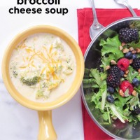 Broccoli Cheese Soup and Berry Salad