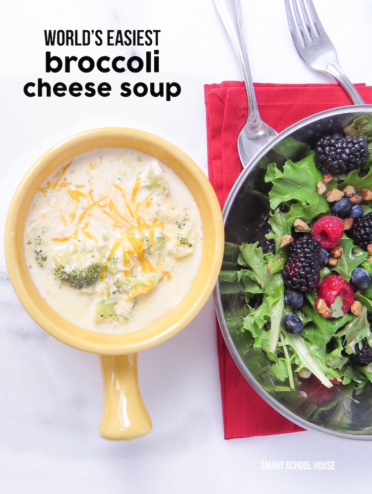 World's Easiest Broccoli Cheese Soup recipe (with a quick & easy berry salad!). A healthy meal idea that everyone loves.