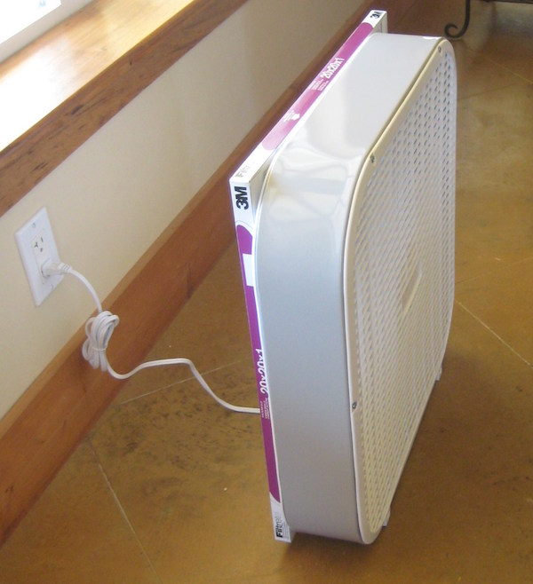 Reduce Pollen in Your Home with a DIY Homemade Air Purifier using a Box Fan, an air filter, and 1 big rubber-band. Brilliant! How to make an air purifier.