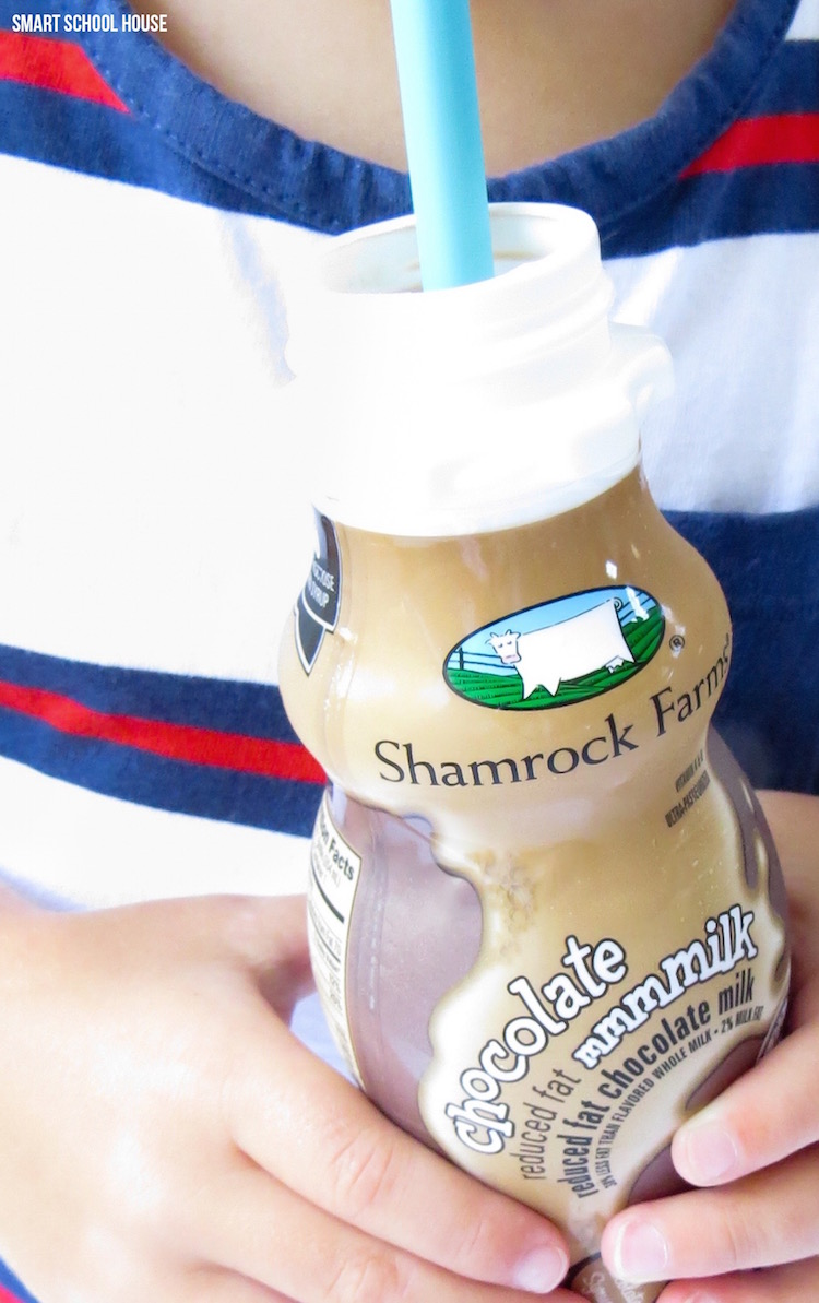 Shamrock Farms on-­the-­go mmmmilk is protein packed and easy for kids to drink.