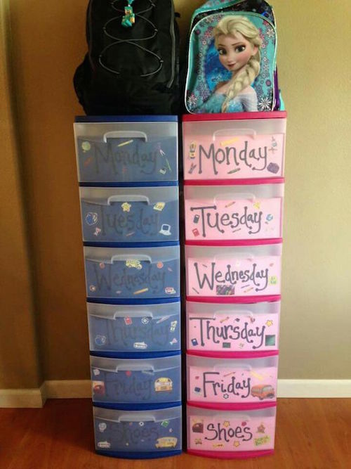 Use plastic drawers like these to organize school clothes