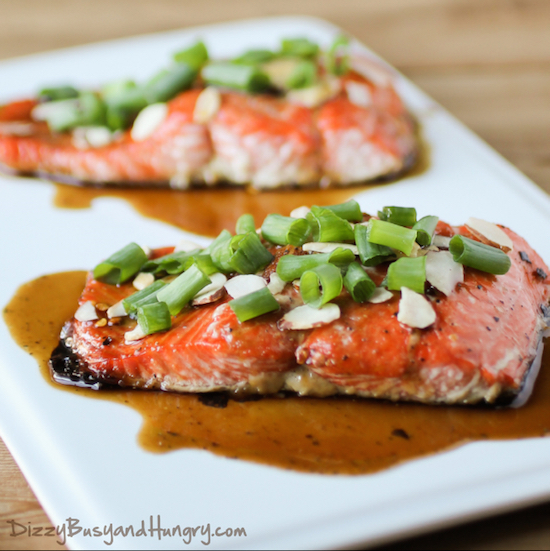 Maple Glazed Salmon with Almonds