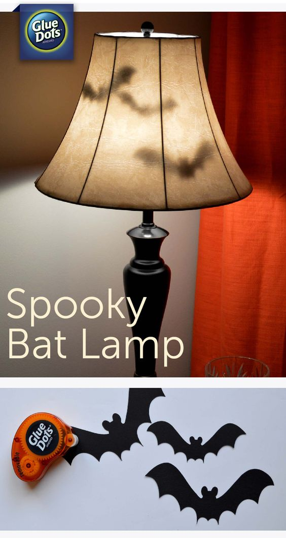 Make a Bat Lamp Halloween Decoration for your home with glue dots!