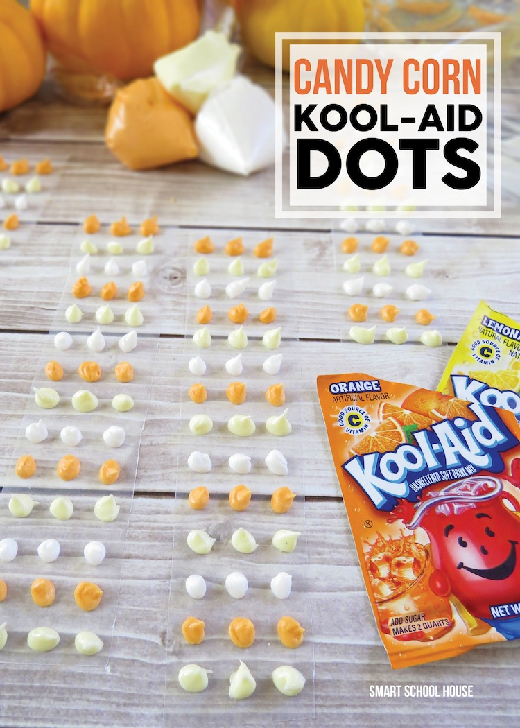 Candy Corn Dots made with Kool-Aid