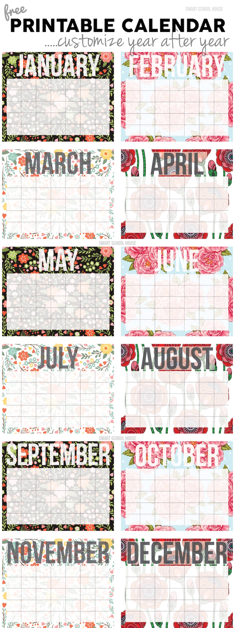Free Printable Calendar. Use it year after year!