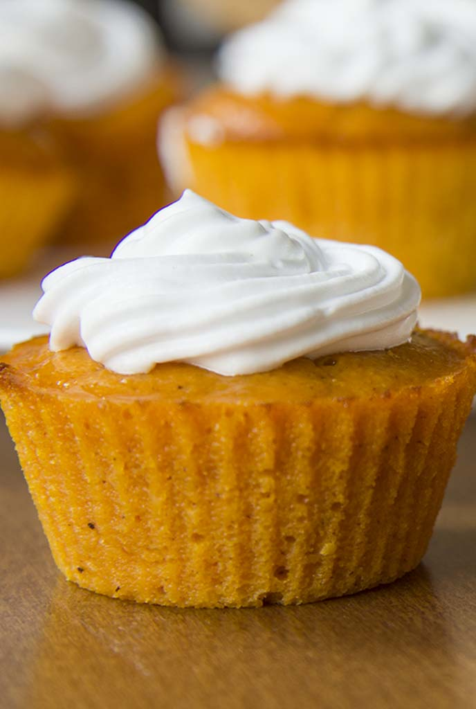"They've been named the ""Impossible Pumpkin Pie Cupcakes"" and everyone says they are amazing. They taste just like pumpkin pie filling but are sturdy enough to eat with your hands. You'll love these because they're not overly sweet, and they're pumpkin-y without being overpowering, plus the batter is crazy easy to make too."